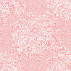Seamless white lace fabric on a pink background. Floral pattern