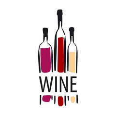 vector logo different bottles of wine