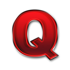 Metal letter Q in red