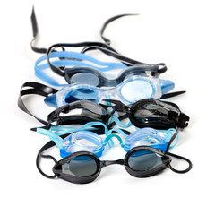 Goggles for swimming with water drops