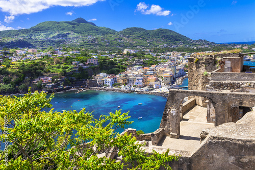 Fotobehang Stad aan het water Ischia -view from Arafgonese castle. Italy