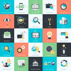 Set of flat design style concept icons for finance, banking