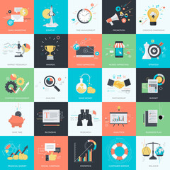 Set of flat design style concept icons for internet marketing