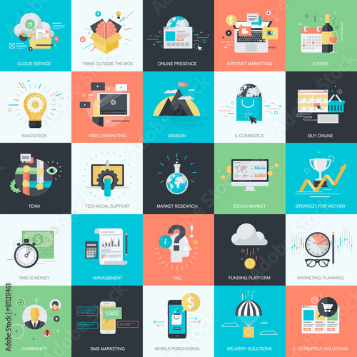 Set of flat design style concept icons for marketing, e-commerce poster