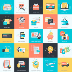 Set of flat design icons for e-commerce, online shopping