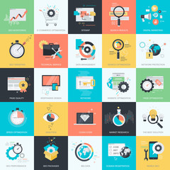 Set of flat design icons for web design and development