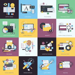 Set of flat design icons for graphic and web design, marketing