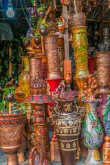 Beautiful handmade clay pots with arts