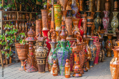 Tuinposter India Beautiful handmade clay pots with arts