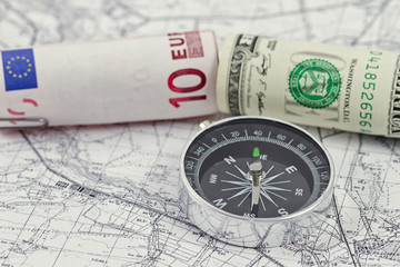 American and European currencies are on the map