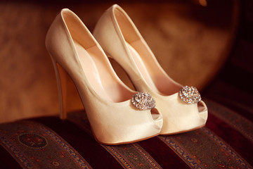 Beautiful wedding shoes for a bride