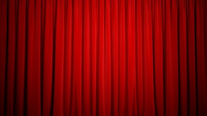 Curtain. 3D. Red velvet curtain