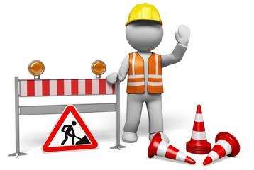Construction Site. 3D. Hello, under construction