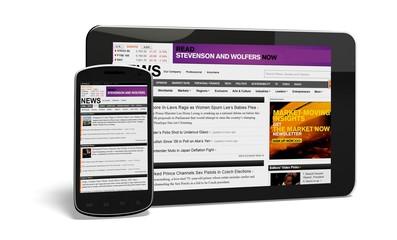Digital Tablet. 3D. News webpage