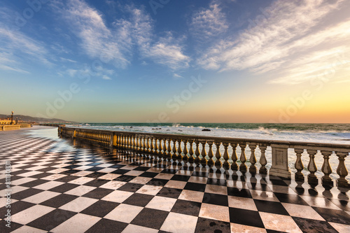 Terrace Mascagni in Livorno, viewpoint along the sea with the ch - 81130831