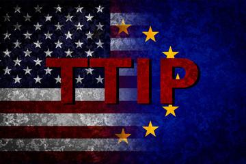 USA and EU flags. TTIP concept