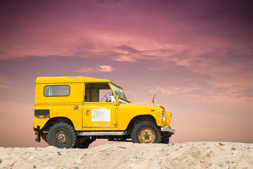 Off road car stop on the beach