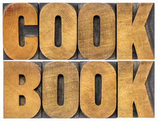 cookbook word abstract in wood type