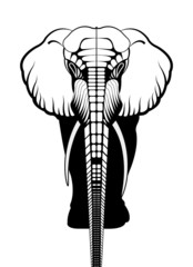 elephant silhouette on a white background