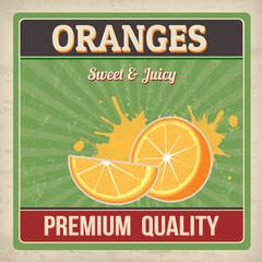 Oranges retro poster