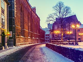 Medieval street in old Riga city at night, Latvia, Europe