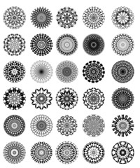Set of vintage star vector graphic pattern in black and white