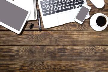 Writer. Open laptop on wooden table
