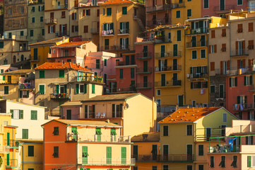 Colorful buildings in the picturesque town on the coast of the T