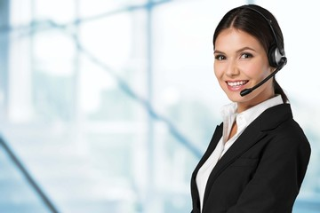 Customer. Picture of friendly female helpline operator with