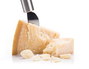 Parmigiano reggiano on white background