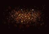 Gold. Glitter vintage lights background. dark gold and black poster