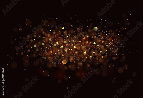 Leinwandbild Motiv Gold. Glitter vintage lights background. dark gold and black
