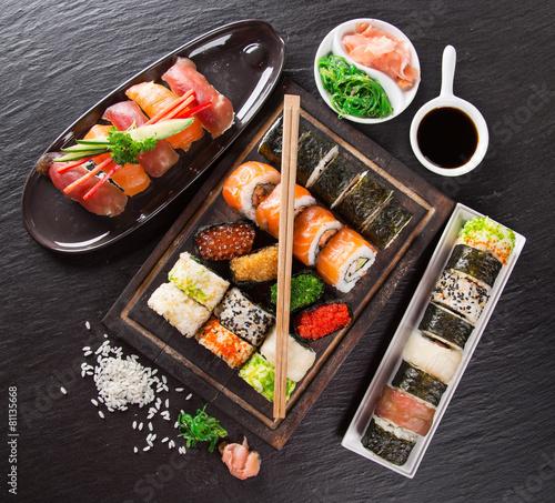 Fotobehang Vis Japanese seafood sushi set