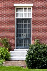 Black metal  Door in the Cambrige, Massachussets, US