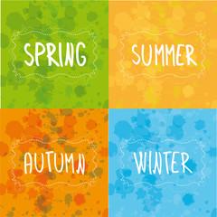 Spring, summer, autumn, winter handwriting