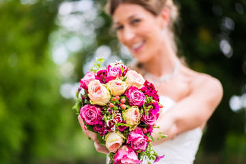 Bride in gown with bridal bouquet
