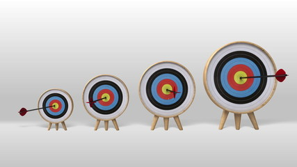 One arrow hitting in the several targets,increasingly success
