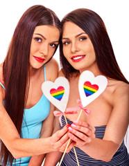 Portrait sexy lesbian women with heart.