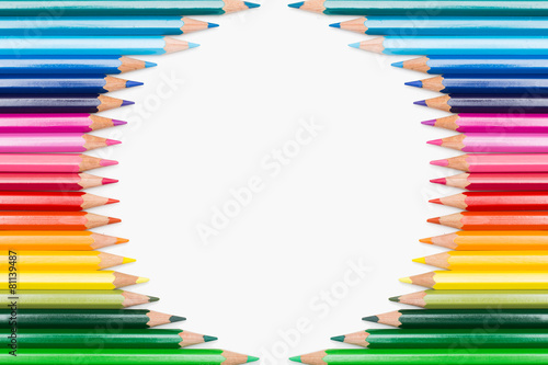 Poster Colored pencils lined up in circular frame
