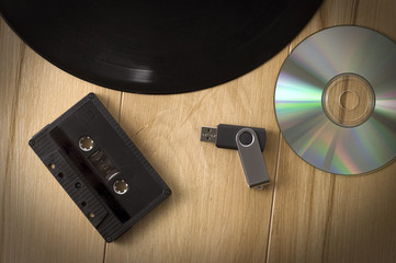 Vintage Looking Image of Music Recording Evolution