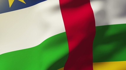 Central African Republic flag waving in the wind. Looping sun