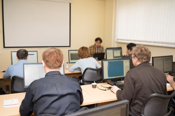 Business people in a computer class