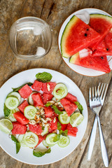 Watermelon salad with cucumbers