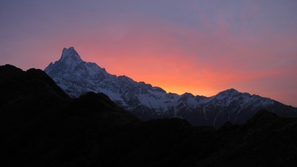 Machapuchre at sunrise, view from Mardi Himal High Camp
