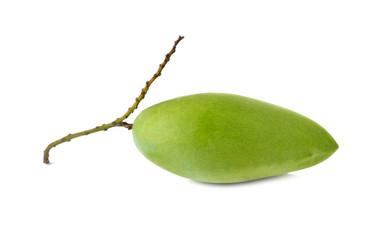 raw green mango with stem on white background