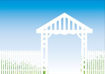 white fence blue background