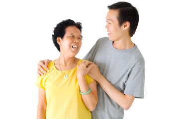 Asian senior woman and son