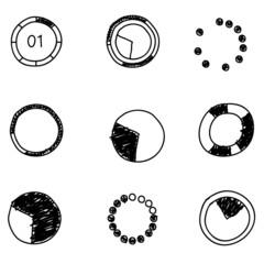 Doodles icons. Set of  circle diagram. Business chart elements