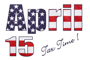 USA Stars and Stripes flag in April 15 letters and numbers outli