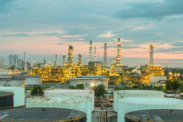 Oil refinery at dramatic twilight in Thailand
